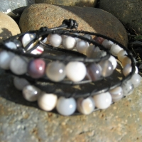 thumbs img 0397 Beaded Leather Wrap Bracelet