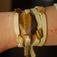 thumbs mw52 large tiger eye 5 stone Multi Wrap Leather Bracelets