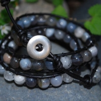 thumbs silver button Beaded Leather Wrap Bracelet