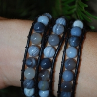 thumbs tb100 boswana agate grey sold Beaded Leather Wrap Bracelet