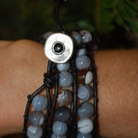 thumbs tb100 botswana agate grey sold shelby Beaded Leather Wrap Bracelet