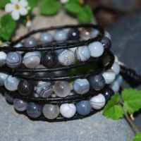 thumbs tb100 grey agate beads Beaded Leather Wrap Bracelet