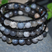 thumbs tb101 grey agate silver button Beaded Leather Wrap Bracelet