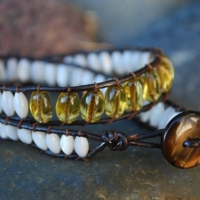 thumbs db58 double beaded 40 motherofpearl and yellow b Beaded Leather Wrap Bracelet