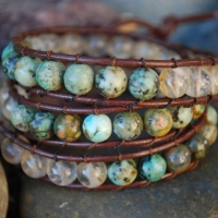 thumbs beaded brwn sold1 0 Beaded Leather Wrap Bracelet