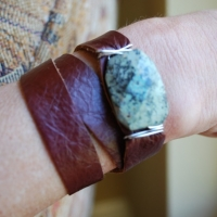 thumbs green stone sold shana1 Leather Wrap Bracelets