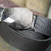 thumbs white blk stone1 Leather Wrap Bracelets